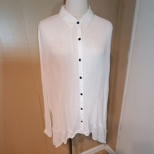 Free People High-Low White Free Flowing Shirt
